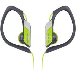 Water-Resistant Sport Clip Adjustable Earbud Headphones, Neon Yellow