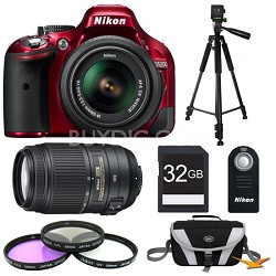 D5200 Red 32 GB SLR Camera with 18-55mm & 55-300mm VR Lens and Filters Bundle