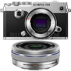 PEN-F 20MP Mirrorless Micro Four Thirds Digital Camera w/ 14-42mm Lens - Silver