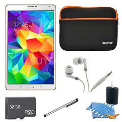 "Galaxy Tab S 8.4"" Tablet - (16GB, WiFi, Dazzling White) 32GB Accessory Bundle"
