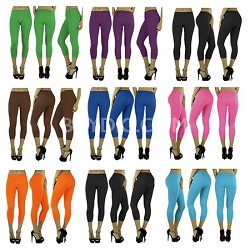 6-Pack Capri Yoga Legging One Size (2 Black, 1 Red, 1 Yellow, 1 Purple, 1 Brown)