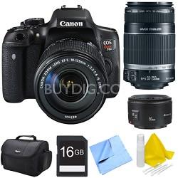 EOS Rebel T6i Digital SLR Camera with 18-135mm STM, 55-250mm, 50mm Lens Bundle