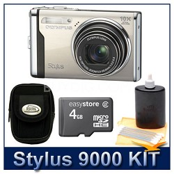 "Stylus 9000 12MP 2.7"" LCD Digital Camera (Champagne) Savings Bundle"
