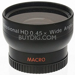 Professional .45X Wide Angle Lens w/ Macro - for 37mm threading (black)