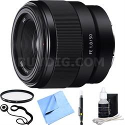 FE 50mm F1.8 Full-frame Prime E-Mount Lens SEL50F18F Essential Accessory Bundle