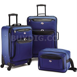"Brookfield Navy 3 Piece Luggage Set (21"" Spinner, 25"" Spinner, Boarding Bag)"