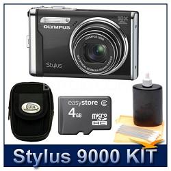 "Stylus 9000 12MP 2.7"" LCD Digital Camera (Black) Super Savings Kit"