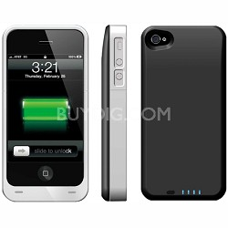 Power DX PLUS External Battery Case - iPhone 4S & 4 (Black Silver) 2400MAH