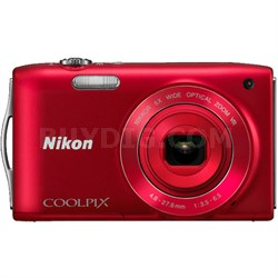 COOLPIX S3300 16MP 6x Opt Zoom 2.7 LCD - Red (Manufacturer Refurbished)