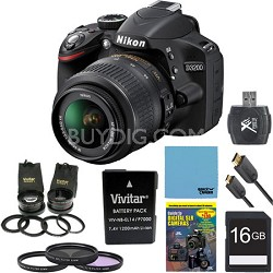 D3200 24.2 MP CMOS DSLR Camera w/ 18-55 Dx  Lens Kit Ultimate Bundle (Black)