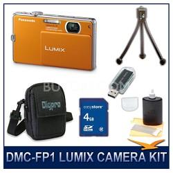 DMC-FP1D LUMIX 12.1 MP Digital Camera (Orange), 4G SD Card, Card Reader & Case