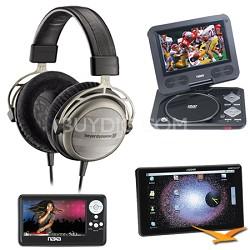 T1 Tesla Audiophile Stereo Headphone Bonus Augen Tablet & Naxa LCD & DVD Kit