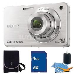 Cyber-shot DSC-W560 Silver Digital Camera 4GB Bundle