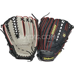 "A2000 Outfield 12.75"" Baseball Glove (Black/Grey/Red) Left Hand Throw"