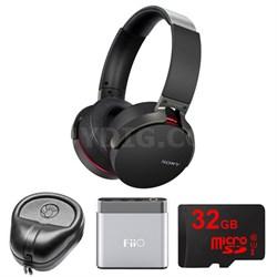 Extra Bass Bluetooth Headphones - Black - MDRXB950BT/B w/ FiiO A1 Amp. Bundle
