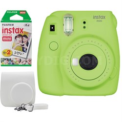 Instax Mini 9 Instant Camera Bundle w/ Case and Film - Lime Green
