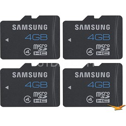 MicroSDHC 4GB Class 4 Memory Card - 4-Pack (Bulk Packaged in Jewel Case)