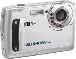 "S7 IR Night Vision Slim 12.2 MP Silver Digital Camera w/ 5X Zoom, 2.7"" LCD"