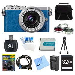 LUMIX DMC-GM1 DSLM Blue Camera with 12-32mm Lens 32GB Bundle