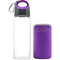 Hot and Cold Glass Bottle with Sleeve, Purple