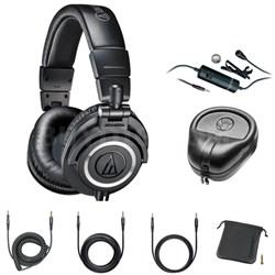 Professional Studio Headphones Black ATH-M50x with Microphone Bundle