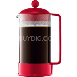 Brazil 8 Cup French Press Coffee Maker 34 oz Glass Carafe - Red