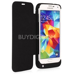 3200mA Battery Power Case Flip Style for Samsung Galaxy S5 - Black - 12884