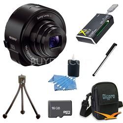 DSC-QX10/B Smartphone attachable lens-style camera (Black) 16GB Bundle