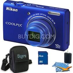 COOLPIX S6200 Blue 10x Zoom 16MP Camera 4GB Bundle