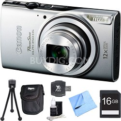 Powershot ELPH 350 HS Silver Digital Camera and 16GB Card Bundle