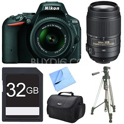 D5500 Black DSLR Camera 18-55mm Lens, 55-300 Lens, and 32GB Bundle