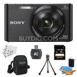 DSC-W830 Cyber-shot Black Digital Camera 16GB Bundle