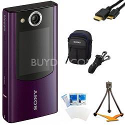 MHS-FS2 Bloggie Duo HD 4GB Purple Camera Camcorder w/ 2 LCD Screens Bundle
