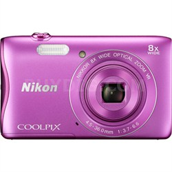 COOLPIX S3700 20.1MP Digital Camera HD Video (Pink) Factory Refurbished