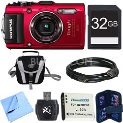 TG-4 16MP 1080p HD Waterproof Digital Camera Red 32GB Memory Card Bundle