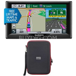 "nuvi 68LMT 6"" Essential Series 2015 GPS with Lifetime Maps & Traffic Case Bundle"