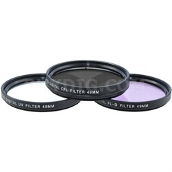 49mm UV, Polarizer & FLD Deluxe Filter Kit (Set of 3 + Carrying Case)