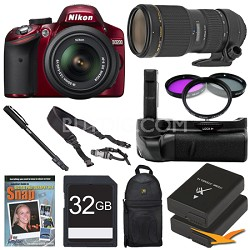 D3200 DX Red Digital SLR Camera Wildlife Photographer Bundle