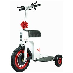 3-Wheeled Sit/Stand Foldable Electric M Scooter - White (MPAM004)