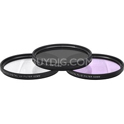 62mm UV, Polarizer & FLD Deluxe Filter kit (set of 3 + carrying case)