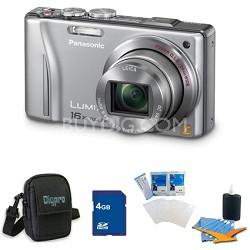 Lumix DMC-ZS10 14.1 MP Camera 16x Zoom Optical I.S. w GPS Silver 4 GB Bundle