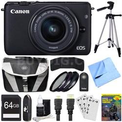 EOS M10 Mirrorless Camera Black EF-M 15-45mm f/3.5-6.3 IS STM Lens 64GB Bundle
