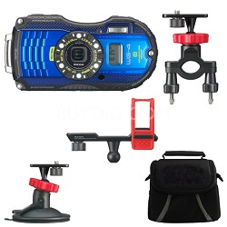 WG-4 GPS 16MP HD 1080p Waterproof Digital Camera Action Pack - Blue