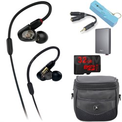 ATH-E50 Professional In-Ear Monitor Headphone A5 Portable Amplifier Bundle