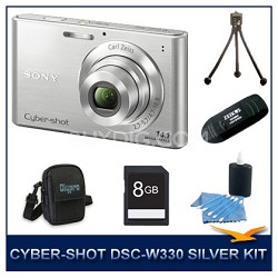 Cyber-shot DSC-W330 14MP Silver Digital Camera With 8GB Card, Case, and More