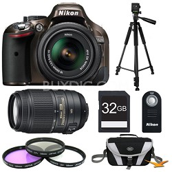 D5200 Bronze 32 GB SLR Camera with 18-55mm & 55-300mm VR Lens and Filters Bundle
