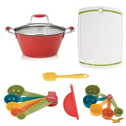 5-Quart Cast Iron Red Lite Soup Pot with Lid, Board, and Measuring Sets Bundle