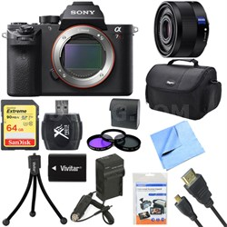 a7R II Full-frame Mirrorless Interchangeable 42.4MP Camera Body 35mm Lens Bundle