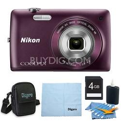 COOLPIX S4300 16MP 3-inch Touch Screen Digital Camera 4GB Purple Bundle