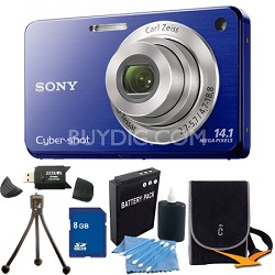 Cyber-shot DSC-W560 Blue Digital Camera 8GB Bundle